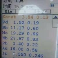 钯铑稀贵合金     贵金属不名块状合金2块约200公斤,内含金16%.钯1.52%,铑11.17%,铱0.55%,铌27.97%