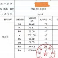 现货销售铂族金属矿铱精粉  现货300吨左右 ,金59.93克/吨  铼10503克/吨 钌1004.6克/吨
