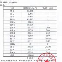 出售铱原矿现货将近2000吨,有两种品味,有化验单 高 含铱29220克/吨